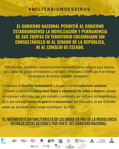 COMUNICADO|| EL MOVIMIENTO ANTIMILITARISTA DE COLOMBIA RECHAZA EL INGRESO DE TROPAS ESTADOUNIDENSES